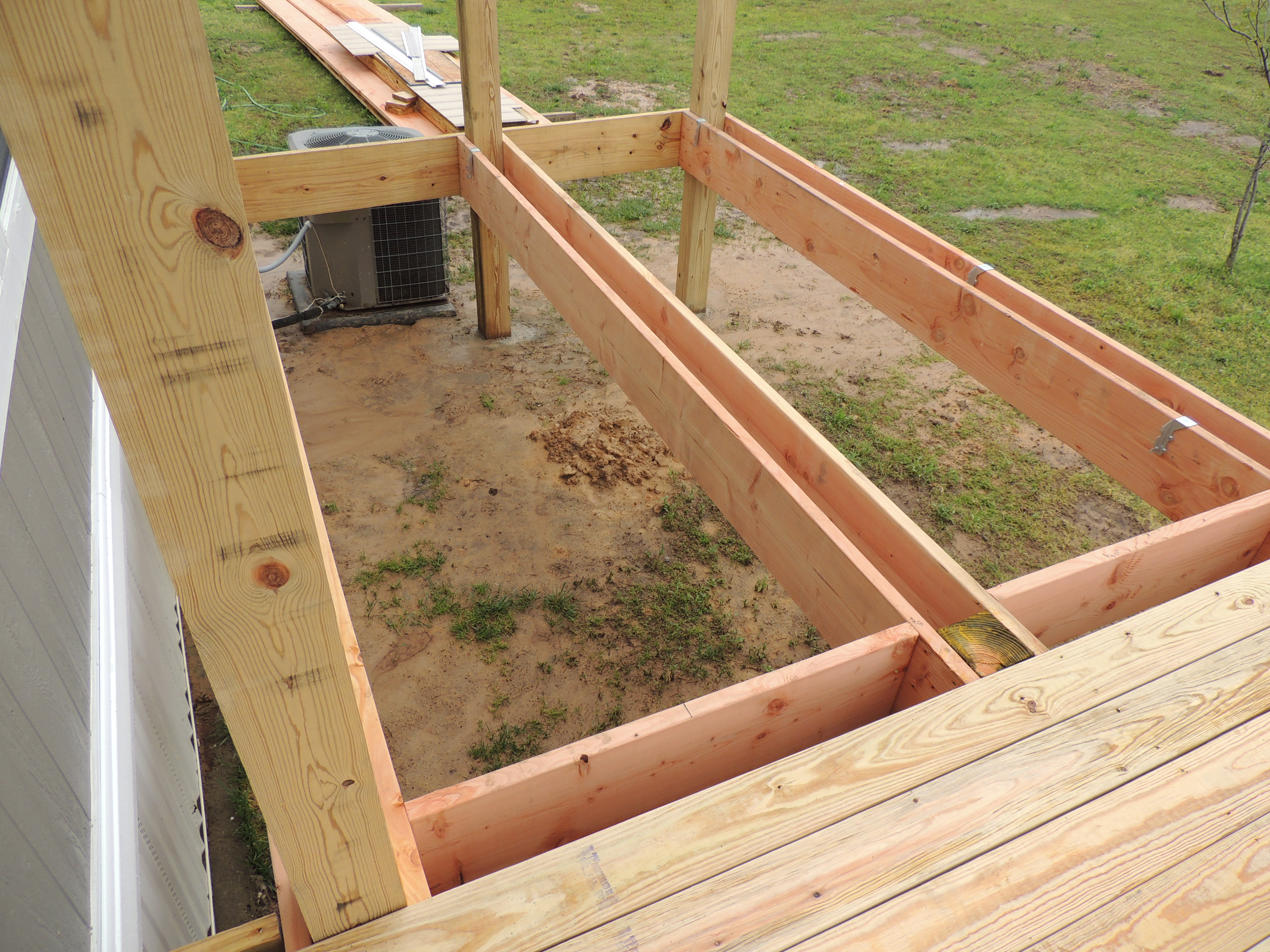 Framing A Deck On Posts : How to build a deck or porch with roof…part roses